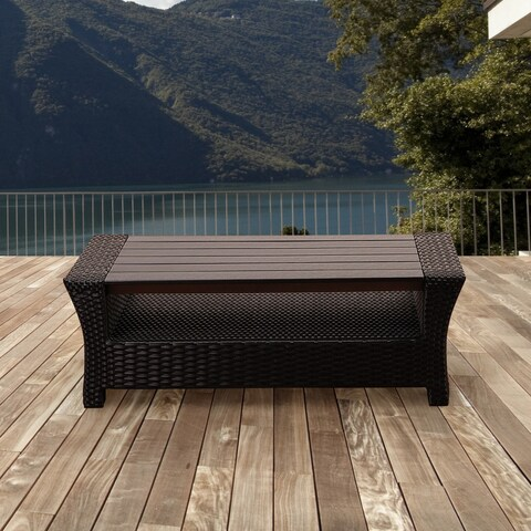 Atlantic Glacier Black Synthetic Wicker Rectangular Coffee Table with Plastic Wood Top