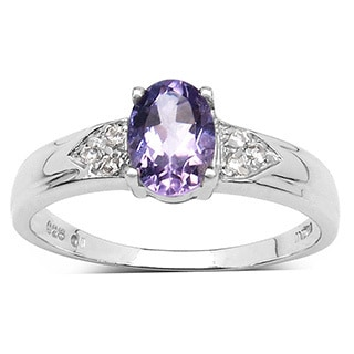 Malaika 0.84 Carat Genuine Amethyst and White Diamond .925 Sterling Silver Ring