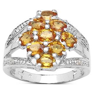 Malaika 2 29 Carat Genuine Orange Sapphire And White Diamond 925 Sterling Silver Ring