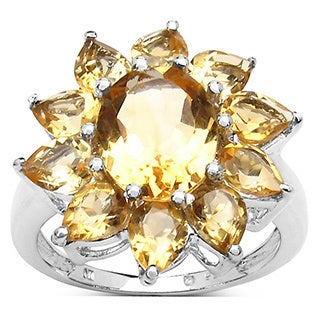 Malaika 5.50 Carat Genuine Citrine .925 Sterling Silver Ring