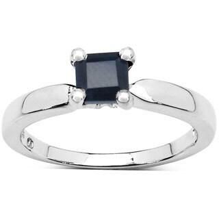 Malaika 0.63 Carat Genuine Black Sapphire .925 Sterling Silver Ring