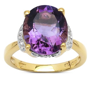 Malaika 14K Yellow Gold Plated 4.38 Carat Amethyst and White Topaz .925 Sterling Silver Ring