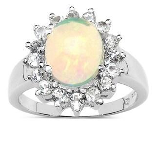 Malaika 2.33 Carat Genuine Ethiopian Opal and White Topaz .925 Sterling Silver Ring