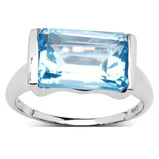 Malaika Sterling Silver Octagonal Blue Topaz Ring