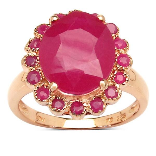 Malaika 5.89 Carat Genuine Ruby .925 Sterling Silver Ring