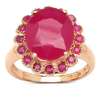 Malaika 14K Rose Gold Plated 5.89 Carat Genuine Ruby .925 Sterling Silver Ring