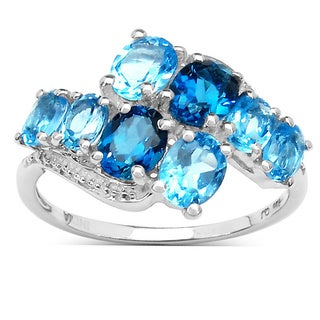 Malaika 3.00 Carat Genuine London Blue Topaz and Swiss Blue Topaz .925 Sterling Silver Ring