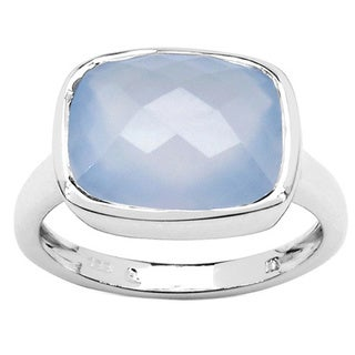 Malaika 4.12 Carat Genuine Blue Chalcedonia .925 Sterling Silver Ring