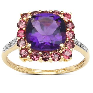 Malaika 2.62 Carat Genuine Amethyst, Pink Tourmaline and White Diamond 10K Yellow Gold Ring