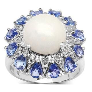 Malaika 4.22 Carat Genuine Ethiopian Opal, Tanzanite and White Diamond .925 Sterling Silver Ring