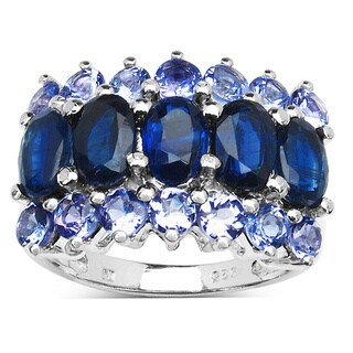 Malaika 4.40 Carat Kyanite and Tanzanite .925 Sterling Silver Ring