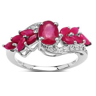Malaika 2.20 Carat Genuine Ruby .925 Sterling Silver Ring