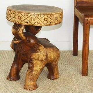 Hand-carved 'Chang' Thai Elephant 20-inch x 15-inch Dia Hand-rubbed Walnut Brown Oil Wood End Table (Thailand)