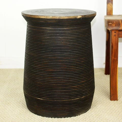 Handmade Groovy Mocha Oil Sustainable Mango Wood Round Table Pot (Thailand)