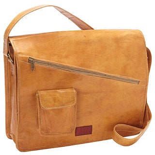 Sharo Yellow Orange Genuine Leather Hand-crafted 15-inch Laptop Messenger Bag
