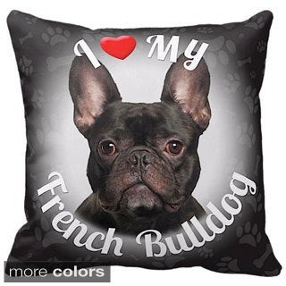 I Love My French Bulldog Black Throw Pillow