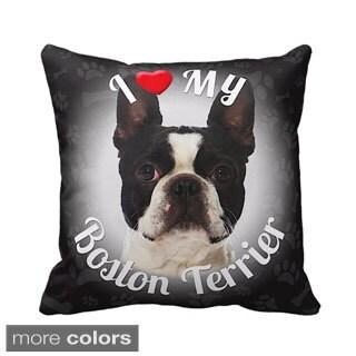 I Love My Boston Terrrier Throw Pillow