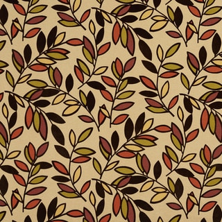 U0320B Black/ Orange/ Yellow and Green Leaves Layered Microfiber Velvet on Cotton Upholstery Fabric