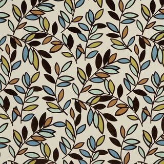 U0320A Black Teal Green and Brown Leaves Layered Microfiber Velvet on Cotton Upholstery Fabric
