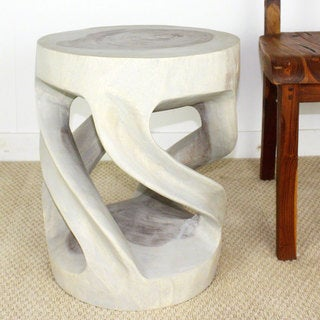 Handmade Wild Twisted Vine Tapered Round Monkey Pod Wood Table (Thailand)