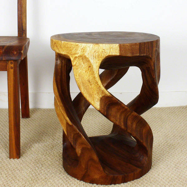 Handmade Twisted Vine Tapered Round Monkey Pod Wood Table (Thailand)
