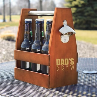 Dad's Brew Wooden Craft Beer Carrier with Opener