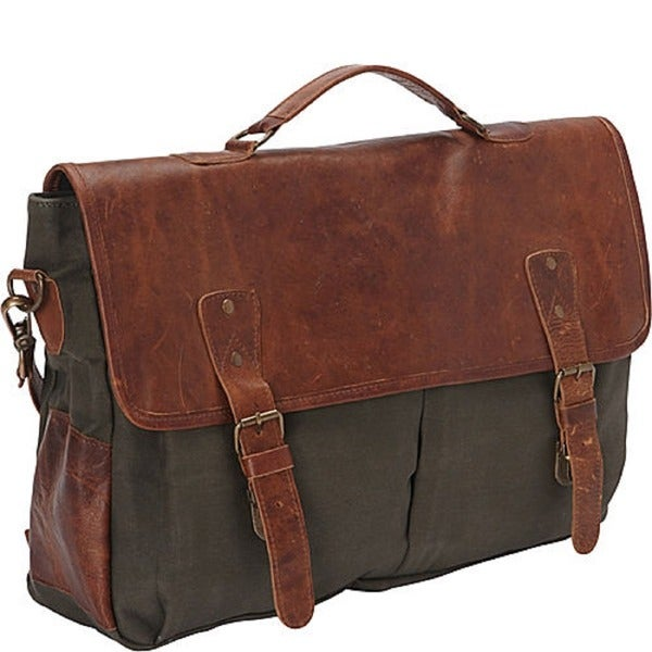 SHARO Large Canvas and Leather Laptop Computer Brief and Messenger ...