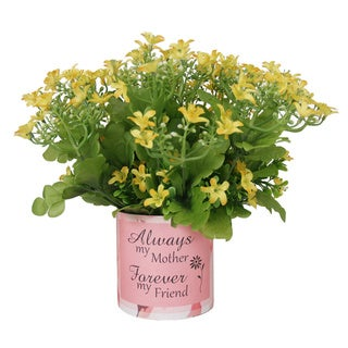 Yellow Gypso Silk Floral Arrangement in Pink Mother's Day Vase