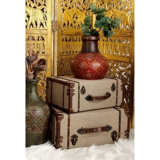 Preferred Vintiquewise Brown Wood Old-fashioned Suitcases with Faux Leather  EM27