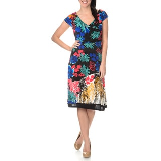 La Cera Women's Multi Print Cross-over Front Dress