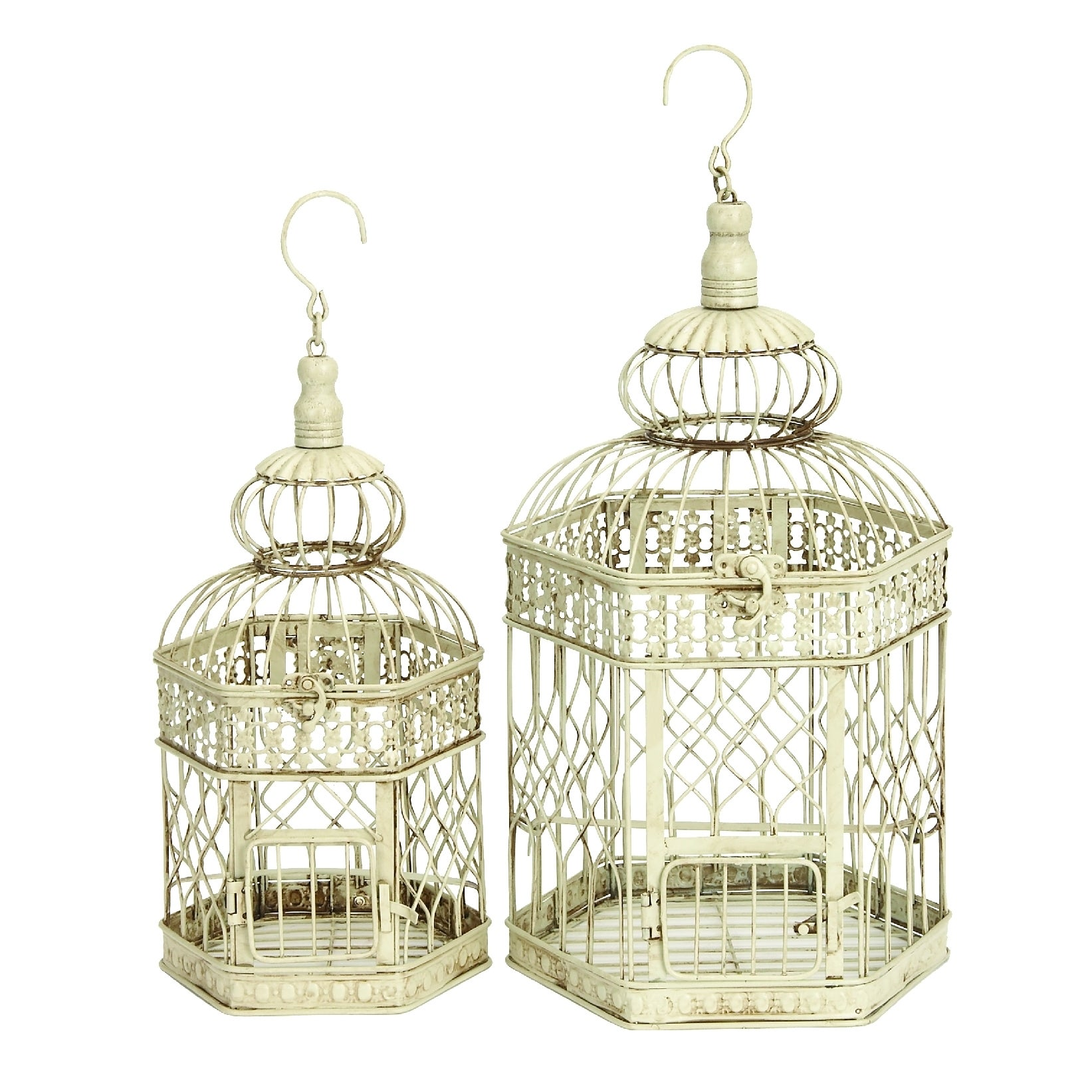 White Metal Bird Cages (Set of 2)