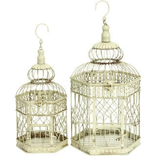 White Metal Bird Cages (Set of 2) - Thumbnail 0