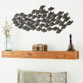 Coastal 20 x 53 Inch School of Fish Metal Wall Decor by Studio 350