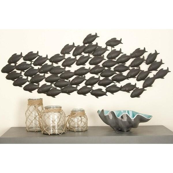 Coastal 20 x 53 Inch School of Fish Metal Wall Decor by Studio 350