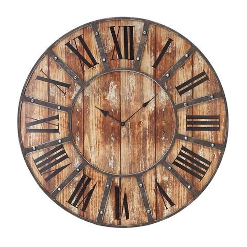 Pine Canopy Hosta 24-inch Round Wood Clock