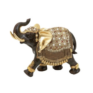 Polystone Elephant With Intricate