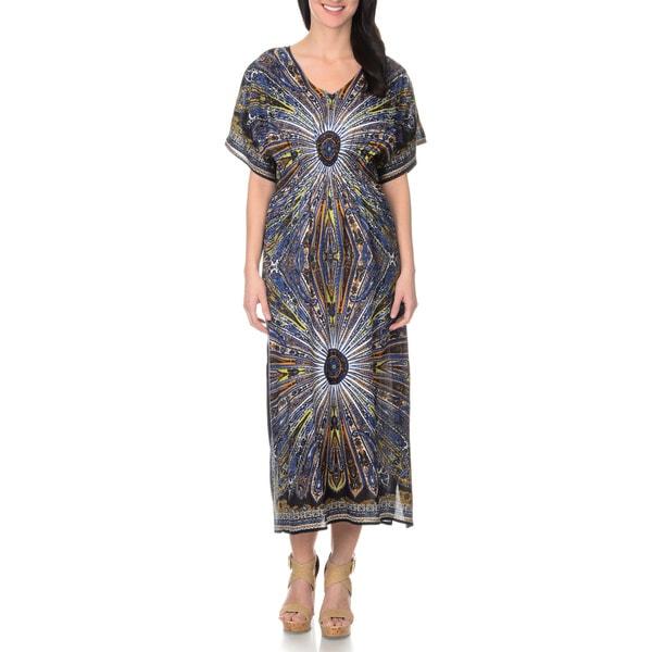 La Cera Women's Printed Caftan Maxi Dress