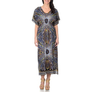 La Cera Women's Printed Caftan Maxi Dress