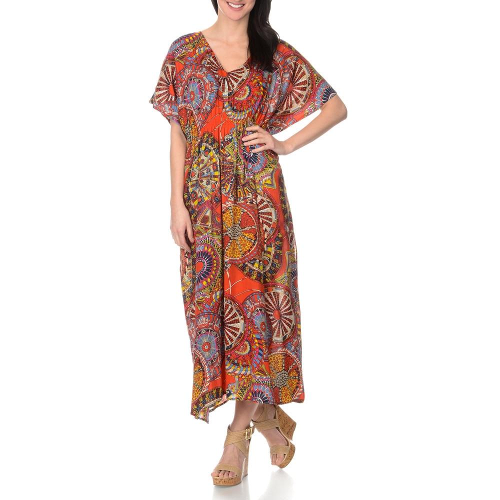 La Cera Womens Red Printed Caftan Maxi Dress