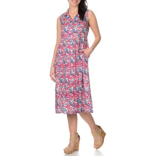 La Cera Women's Red Floral Printed Button Down Dress