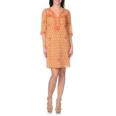 La Cera Women's Embroidered Printed Dress