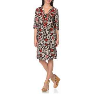 La Cera Women's Black/Red Embroidered Printed Dress