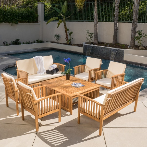 Shop Carolina Acacia 8 Piece Outdoor Sofa Set By Christopher Knight
