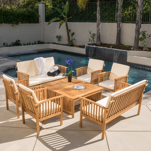 Charming Carolina Acacia 8 Piece Outdoor Sofa Set By Christopher Knight Home