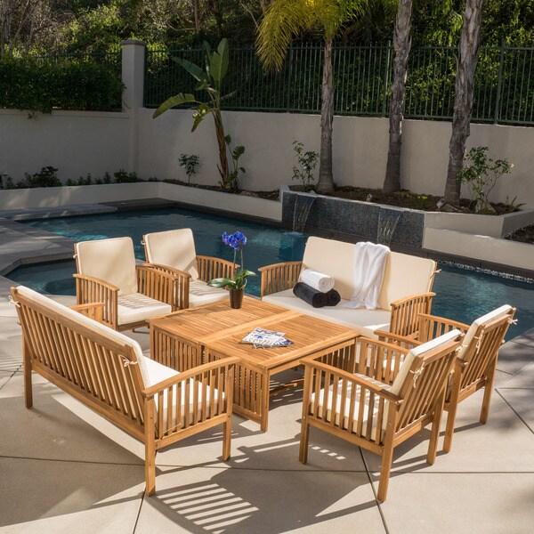 Carolina Acacia 8piece Outdoor Sofa Set by Christopher Knight