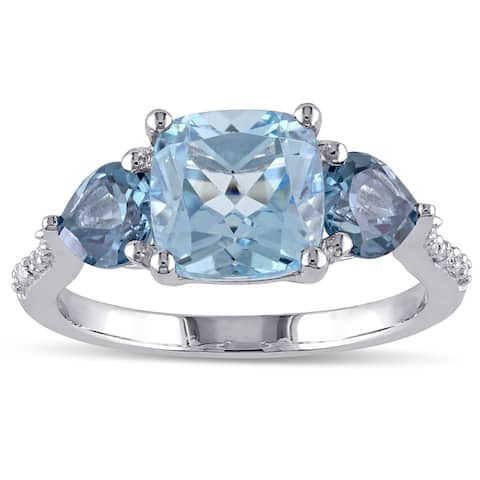 3-Stone Multi-Cut Sky and London Blue Topaz Diamond Ring in Sterling Silver by Miadora