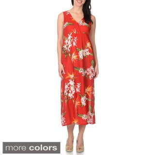 La Cera Women's Cross-over Floral Maxi Dress
