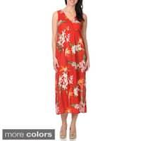 La Cera Women's Cross-over Floral Maxi Dress