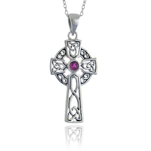 Glitzy Rocks Sterling Silver Ruby Celtic Cross Necklace
