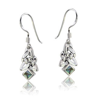 Glitzy Rocks Sterling Silver Abalone Celtic Triangle Knot Dangle Earrings